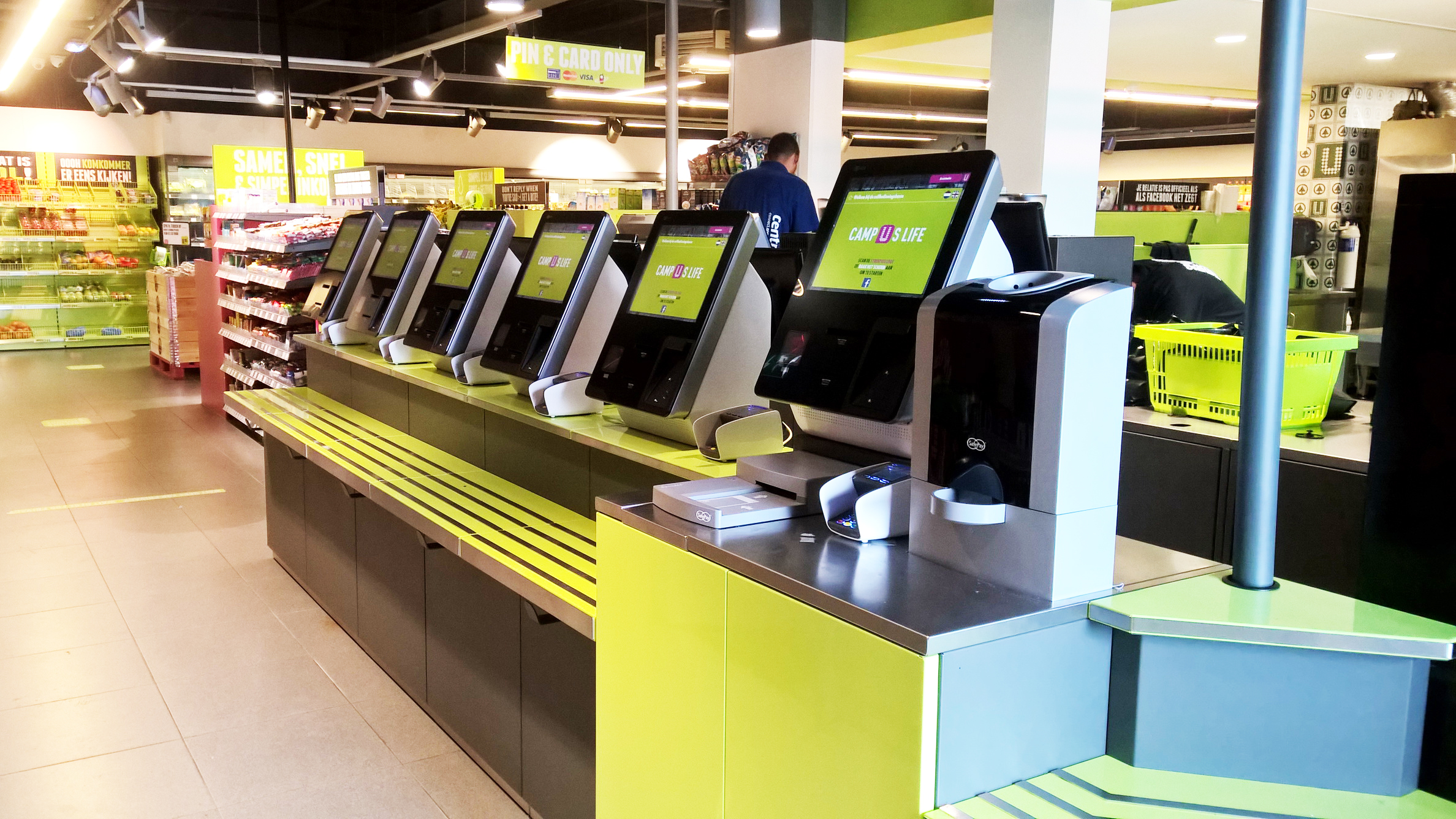 self-checkouts, self-service payment stations