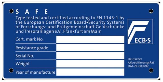 certificeringsplade til pengeskab og sikringsskabe